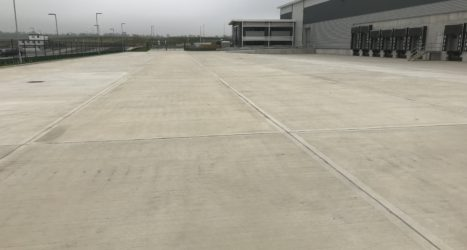 8,500m2 of external concrete flooring laid over 12 days, comprising of 3 separate visits to the site location in the East Midlands, by industrial concrete flooring contractor Level Best