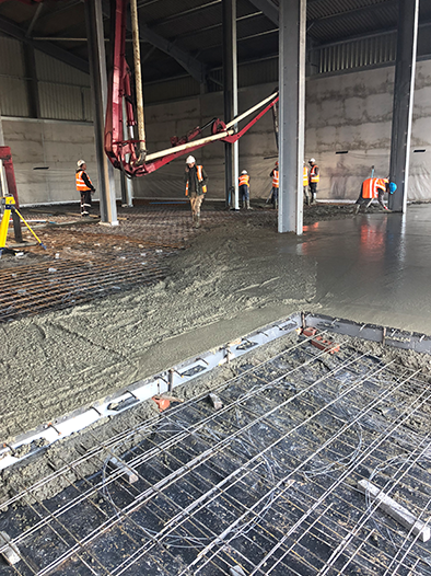 Industrial warehouse concrete floor slab in Newark