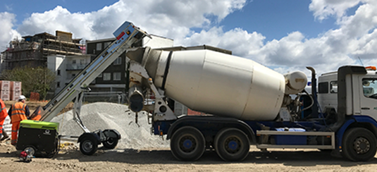 Bekaert steel fibres being added to the readymix truck by Level Best Concrete Flooring Ltd on site.