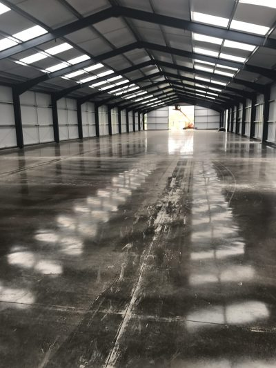 Industrial warehouse concrete floor slab designed and constructed by industrial concrete flooring contractors from Goole in Yorkshire.