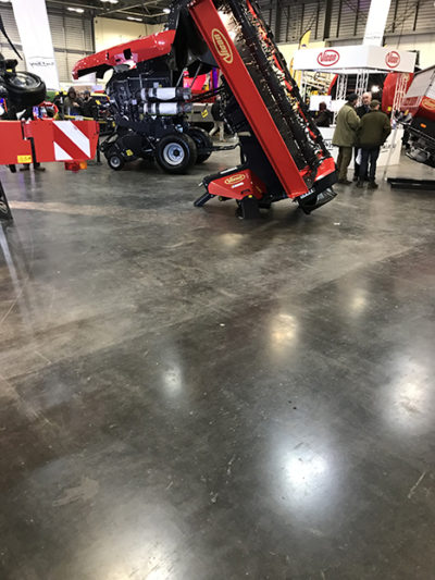 This concrete floor slab was laid ten years ago at Peterborough Exhibition Centre with a charcoal dry shake topping bonded to the surface.