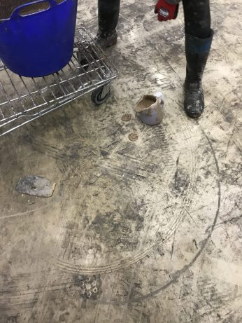 The core holes are then filled with a very strong and highly fluid Fosroc floor repair material that colour matches the concrete as good as anything else we have found in the market place.
