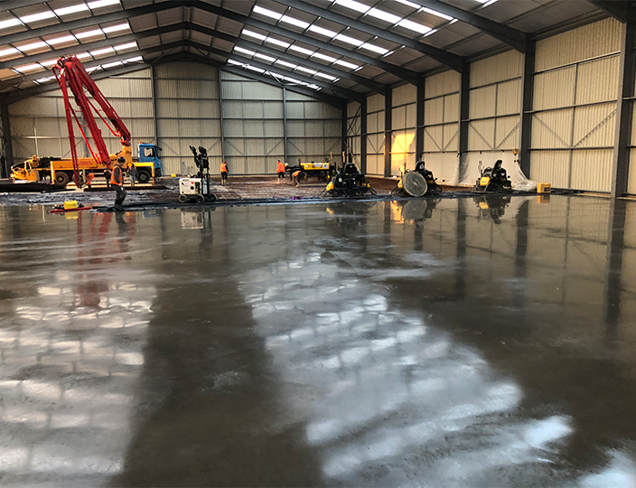 Warehouse concrete floor slab in Sleaford in Lincolnshire
