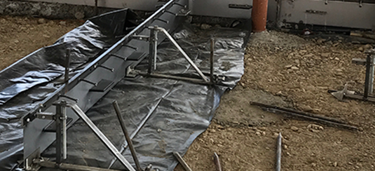 The Permaban Alpha joint is the perfect solution for a construction joint for this steel fibre reinforced suspended concrete floor slab.