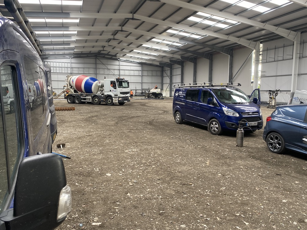 Industrial concrete flooring constructed with laser screed technology to FM1 surface tolerance in Sheffield, South Yorkshire